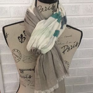Levis Stripes Linen Scarf In Tan, Blues and Greens